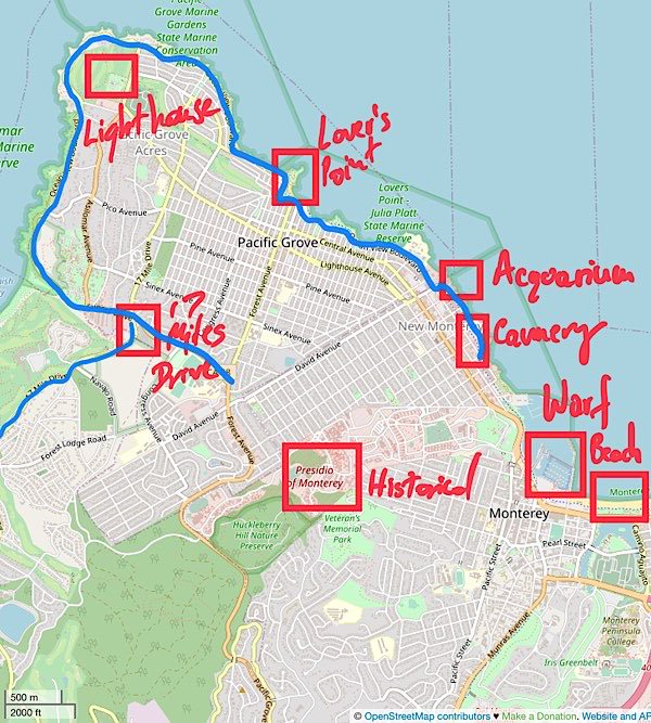 Map of best things to do in Monterey